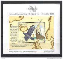 Islande Bloc N° 33 Neuf De 2003 Expo Philatélique Avec Oiseau Et Bateau - Blocs-feuillets