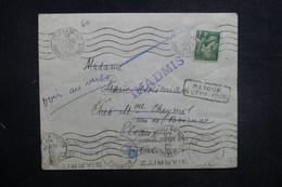 FRANCE - Enveloppe De St Jean De Luz Pour Pleaux En 1940 Et Retour Vers Poste Restante De Biarritz , à Voir - L 37716 - Marcophilie (Lettres)