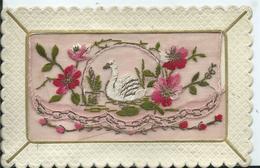 CARTE FANTAISIE BRODEE - Cygne - Embroidered