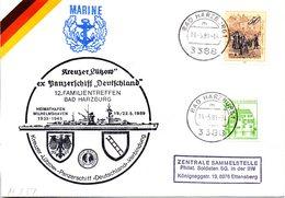 """(FC-3) BRD Cachetumschlag Bundeswehr """"Kreuzer LÜTZOW, Ex Panzerschiff """"Deutschland"""" MiF BRD TSt 19.5.1989 BAD HERZBURG - Barche"""