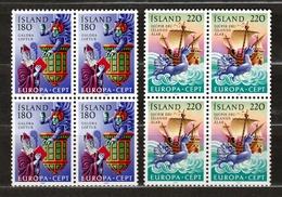 1981 Islanda Iceland EUROPA CEPT EUROPE 4 Serie Di 2v. In Quartina MNH** Bl.4 - 1981