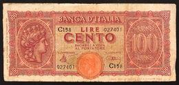 100 LIRE ITALIA TURRITA 10 12 1944  Naturale LOTTO 831 - 100 Lire