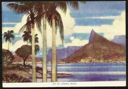 Postcard AK Brazil Rio De Janeiro Corcovado Printed By Royal Mail Lines Ltd Passenger Services To South America Shipping - Rio De Janeiro