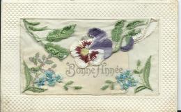 CARTE FANTAISIE BRODEE - Bonne Année - Embroidered