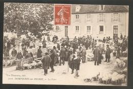 TRES BELLE C.P.A -- 5016 - DOMPIERRE Sur BESBRE -- La Foire - Voyagée 1909 -- Marché - FOIRE - COCHONS - Trés Animée - Francia