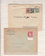 Belgique   2 Enveloppe    Fonderie  Riche Frère  Courcelles Les Motte - Belgium