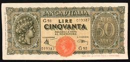 50 LIRE ITALIA TURRITA 10 12 1944 Q.spl OTTIMO BIGLIETTO  LOTTO 833 - [ 1] …-1946 : Reino