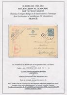 733/29 --  Entier Carte Postale Petit Sceau 50 C S/ Feuille D' Album - TOURNAI 1941 Vers ROUBAIX - PORT FRONTALIER RARE - WW II