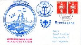"""(FC-3) BRD Cachetumschlag Bundesmarine """"AUSSTELLUNG UNSERE MARINE 1979"""" MeF BRD TSt 7.6.1979 KAUFBEUREN - BRD"""
