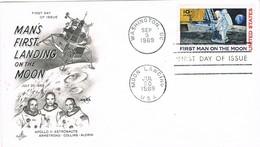 33418. Carta WASHINGTON 1969. Moon Landing, First Man On The Moon, Apollo 11 - Sobre Primer Día (FDC)