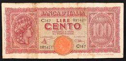 100 LIRE ITALIA TURRITA 10 12 1944  Naturale LOTTO 2558 - 100 Lire