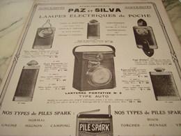 ANCIENNE PUBLICITE LAMPE ELECTRIQUE DE POCHE  PAZ ET SILVA  1917 - Altri