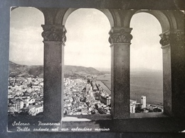 CARTOLINA ANTICA-SALERNO-PANORAMA-BRILLA ARDENTE NEL SUO SPLENDORE  MARINO-'900 - Postales