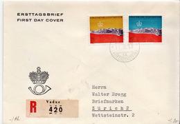Liechtenstein Pair On Registered FDC - Holidays & Tourism