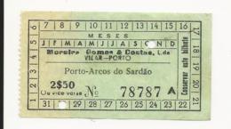 Ticket Portugal Moreira Gomes & Costas, Lda. Vilar 2$50 - Europe