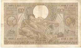 BELGIQUE -- 100 F. ( 20 Belgas ) N° -  4036.F.489 - [ 2] 1831-... : Royaume De Belgique