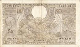 BELGIQUE -- 100 F. ( 20 Belgas ) N° -  3883.D.062 - [ 2] 1831-... : Regno Del Belgio
