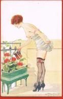 L.PELTIER- Illustrateur Signé - Nu Romantica- Les Balcons De La Parisienne  Série 17 N° 85- écrite 1918 -Recto Verso - Illustrators & Photographers