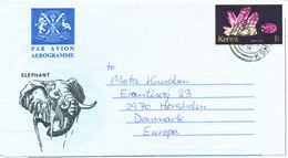 Kenya Aerogramme Sent To Denmark 22-7-1981 Topic Stamp And Elephant Cachet - Kenya (1963-...)