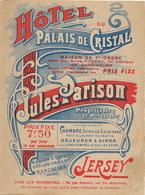 Advert Hotel Du Palais De Cristal Jules Parison  Carte Touristique Plan St Helier . - Jersey