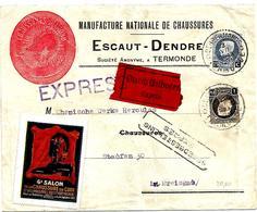 SH 0037. N° 213-214 DENDERMONDE 3.VII.25 S/L. EXPRES + VIGNETTE(Chaussure) -2 GFF Différ. Et 1 étiquette Allemande !. TB - Storia Postale
