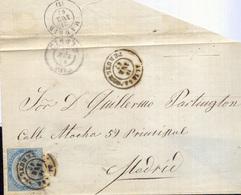 Año 1867 Edifil 88 4 C. Isabel II Envuelta Con Matasellos Aliaga Teruel - Storia Postale