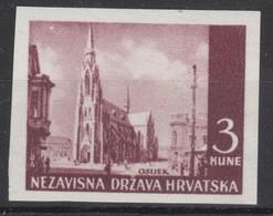 Kroatien  1942  Farbprobe  MiNr. 53  **/ Mnh  ;  Kirche Von Osijek - Kroatien