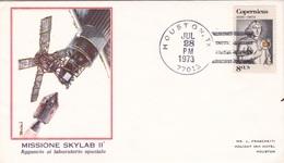 MISSIONE SKYLAB II  AGGANCIO AL LABORATORIO SPAZIALE 1° GIORNO EMISSIONE 28 JUN 1973 AUTENTICA 100% - Posta