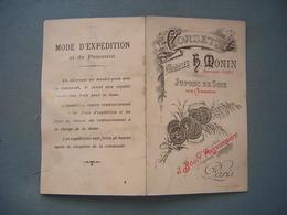 PUBLICITE - JUPONS DE SOIE - H. MONIN PARIS -ECHANTILLONS DE TISSU - Publicités