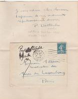 Lettre Du Peintre P. DELTOMBE (1878 Catillon S/Sambre -Nord ; Nantes 1971.) Avec Son Enveloppe. - Autographes
