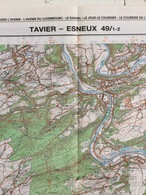 TOPOGRAFISCHE KAART / STAFKAART / CARTE D'ETAT MAJOR TAVIER - ESNEUX 49/1-2 - 1/25.000 M834 - 1989 - Cartes Topographiques