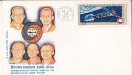 MISSIONE  CONGIUNTA APOLLO SOYUZ EQUIPAGGIO AMERICANO E SOVIETICO   1° GIORNO EMISSIONE17 JUIN 1975  AUTENTICA 100% - Posta