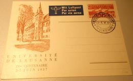 Schweiz Suisse 1937: UNIVERSITÉ LAUSANNE Palais De Rumine 3-5-VI 37 +IVe CENTENAIRE+  Zu F17 Mi 257 Yv PA17 - Suisse