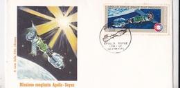 MISSIONE  CONGIUNTA APOLLO SOYUZ AGGANCIO CAPSULE APOLLO SOYUZ   1° GIORNO EMISSIONE17 JUIN 1975  AUTENTICA 100% - Posta