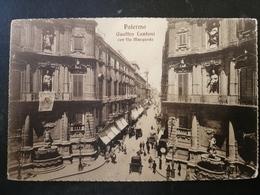 CARTOLINA ANTICA-PALERMO-QUATTRO CANTONI CON VIA MACQUEDA-'900 - Postales