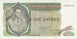 ZAIRE  -- DIX ZAIRES - Zaïre