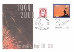 Norge Norway 1999-2000 Millennium (III). Bird, Cancelled 31.12.99 And 1.1.2000  Mi 1336 FDC, - Briefe U. Dokumente