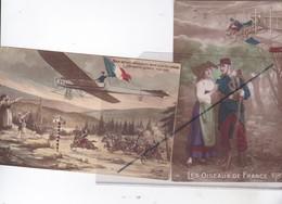 Les Oiseaux De France ;Poilu Avec Alsacienne , Aéroplane Au Dessus Du Champ De Bataille..(lot De 2 Cartes) - Patriotic
