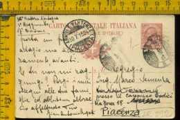 Regno Cartolina Intero Postale Posta Militare X Piacenza - 1900-44 Vittorio Emanuele III