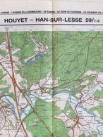 TOPOGRAFISCHE KAART / STAFKAART / CARTE D'ETAT MAJOR HOUYET - HAN-SUR-LESSE 59/1-2 - 1/25.000 M834 - 1988 - Cartes Topographiques
