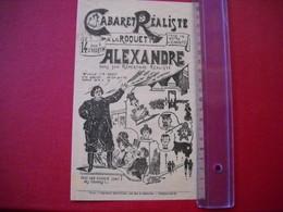"""Paris , Boulevard Saint Martin  . Programme Papier Fin Du """" Cabaret Réaliste """". Dessin Ch. Caban.début 1900 . Uniface. - Programmi"""