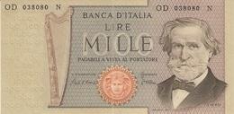 ITALIE  ---  1000 LIRE ( Verdi-- II° TIPO ) OD 038080 N ( Unc ) - 1000 Lire