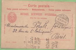 Suisse 10c Entier CP De Genève à Paris 10/10/1892 - Ganzsachen