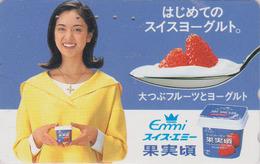 Télécarte Japon / 110-138849 - Femme Pub EMMI / SUISSE - Yaourt & Fraise Girl & Yoghurt Japan Phonecard SWITZERLAND 6131 - Lebensmittel