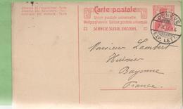 Suisse 10c Helvetia Entier CP De Genève à Bayonne 2/02/11 - Ganzsachen