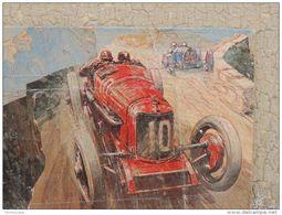 CARS AT THE TARGA FLORIO DECOLLAGE SU TAVOLA 43X32 CARS OPERA UNICA - Altre Collezioni