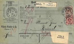 Colis Postal. Plauen ( Vogtl) Vers Belgique 1891 Voir 2 Scan - Covers & Documents