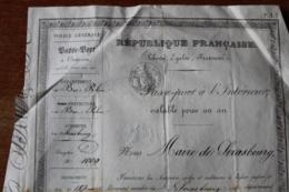 Passeport   Strasbourg II Eme Republique - Historical Documents