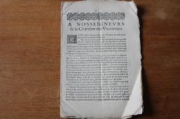 1653 A Nos Seigneurs  De La Chambre Des Vaccations  Province Du Dauphiné - Documenti Storici