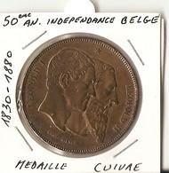 BELGIQUE - LEOPOL 2 -- Médaille En Cuire  1830/1880 - 50° Anniversaire De L'Indépendance Belge - 1865-1909: Leopold II
